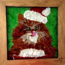 "#47, ""Christmas Kitty Eating Ice Cream"""