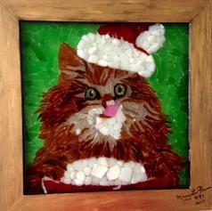 """Christmas Kitty Enjoying Ice Cream"""