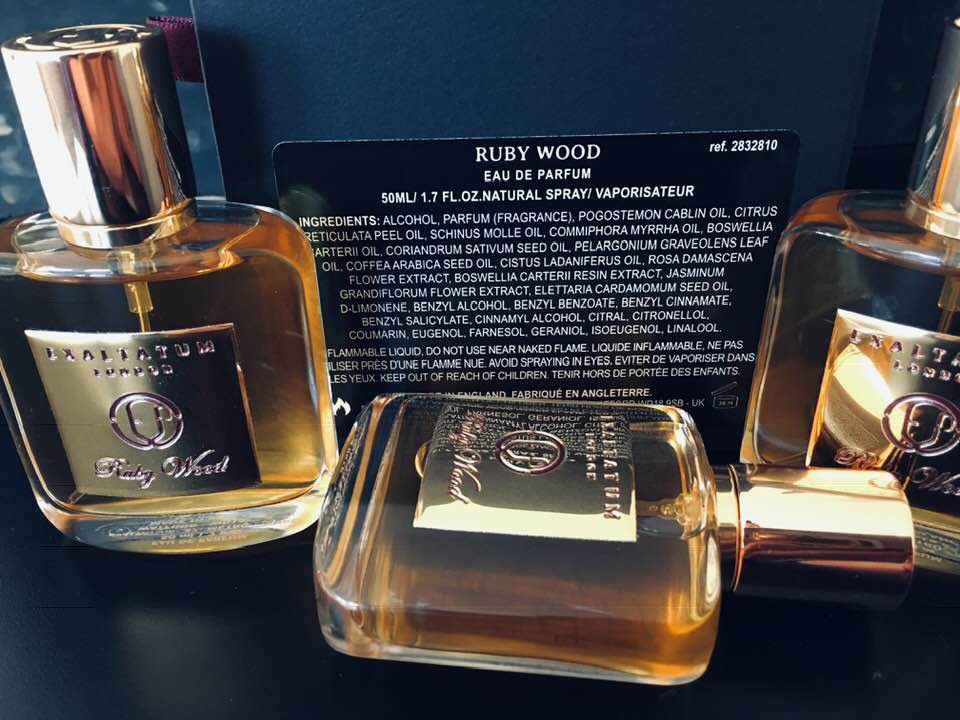 Ruby Wood perfume is made using many natural oils and absolutes, which are disclosed in the back label.