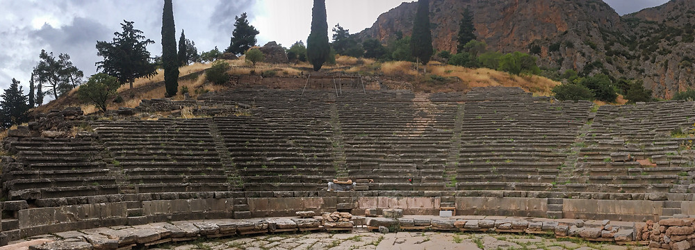 The Amphitheater of Delphi with its several rows of brick seats