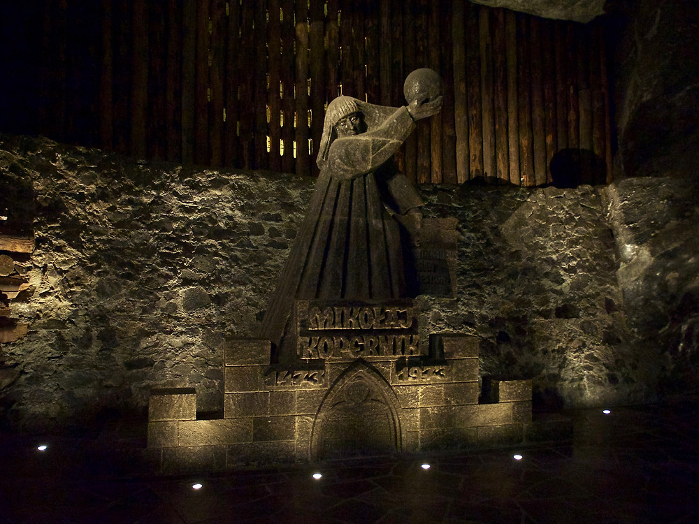 A salt statue of Nicolaus Copernicus the astronomer in the Wieliczka Salt Mine