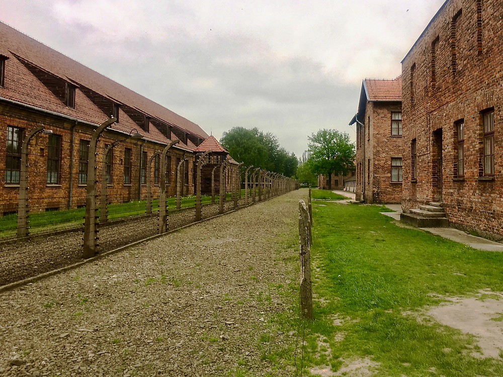 Rows of red-brick buildings on either side of a gravel path and green grass in Auschwitz I