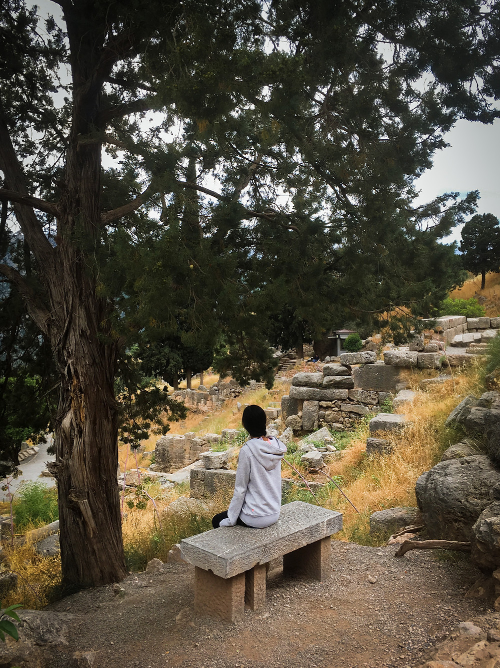 Eryn sits on a bench beneath a tree amid the archaeological site in Delphi, Greece