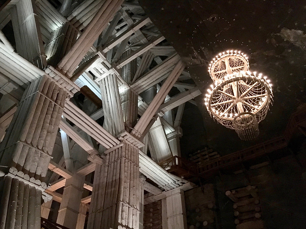 Wood fortifications and a salt crystal chandelier in the Michalowice Chamber of the Wieliczka Salt Mine