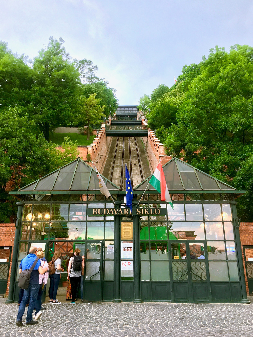 Looking up from the Budavári Sikló station at the base of Castle Hill to the steep tracks climbing up on the Buda side of Budapest, Hungary