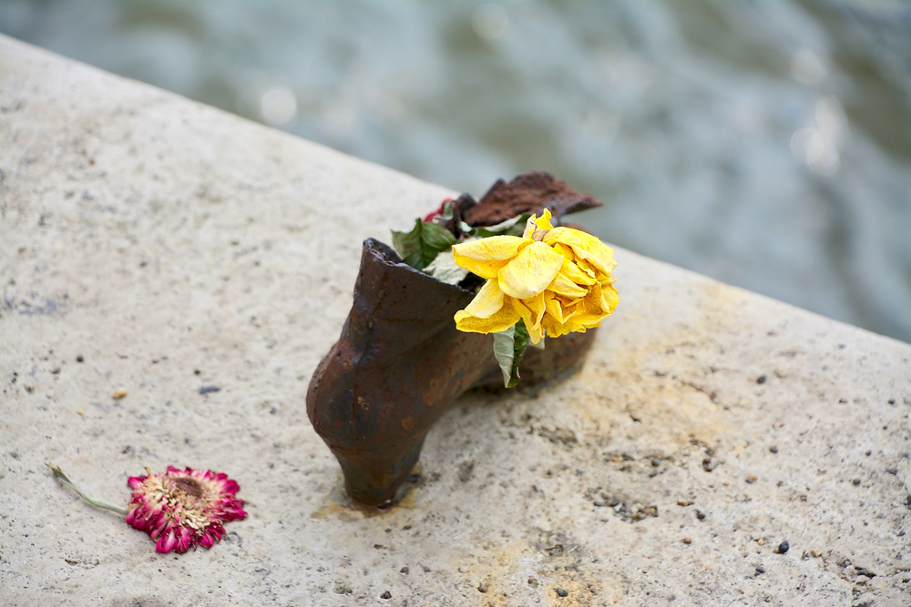 A closeup of a metal shoe with a wilted yellow flower placed inside it and another pink flower dropped on the Danube Bank in Budapest
