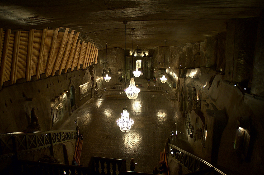 Looking down at the St Kinga Chapel with its salt chandeliers and ornaments