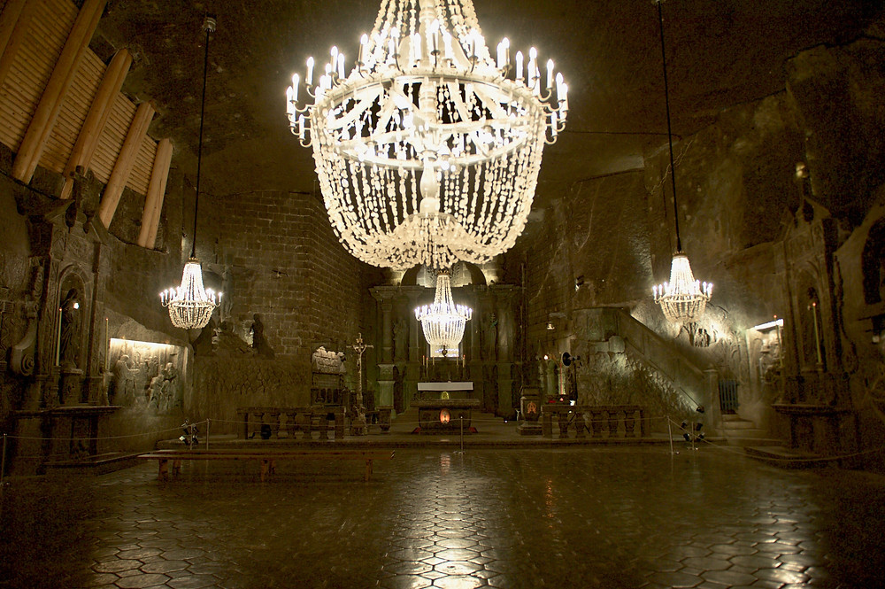 Travel photography of the St Kinga Chapel in the Wieliczka Salt Mine