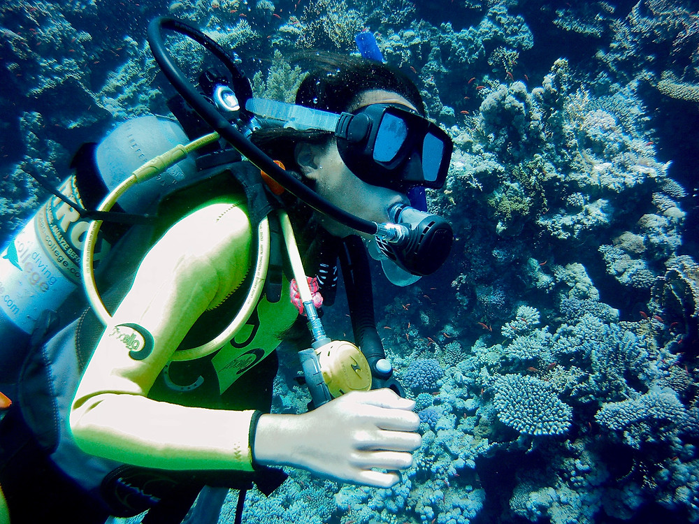 Eryn scuba diving by a walls of coral in the Red Sea of Egypt by Sharm El Sheikh