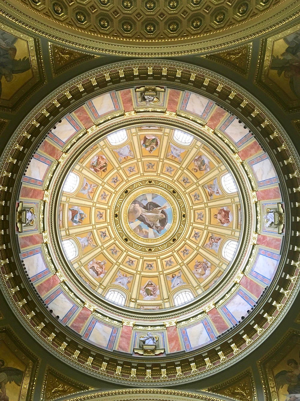 Gold images of angels and more decorating the inside of the main dome at St Stephen's Basilica, Budapest, Hungary