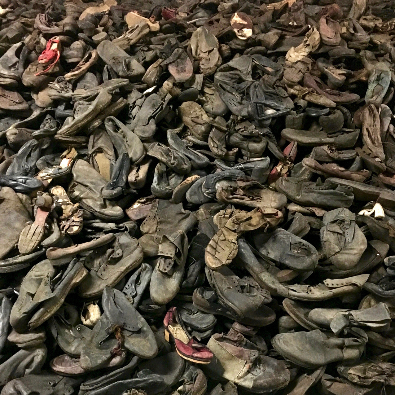 A pile of worn out shoes once worn by the victims of Auschwitz