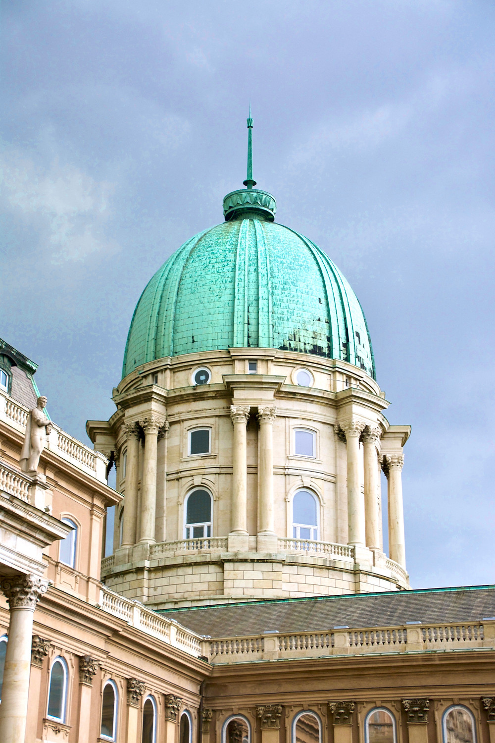 The turquoise-roofed dome of the Buda Castle, Budapest