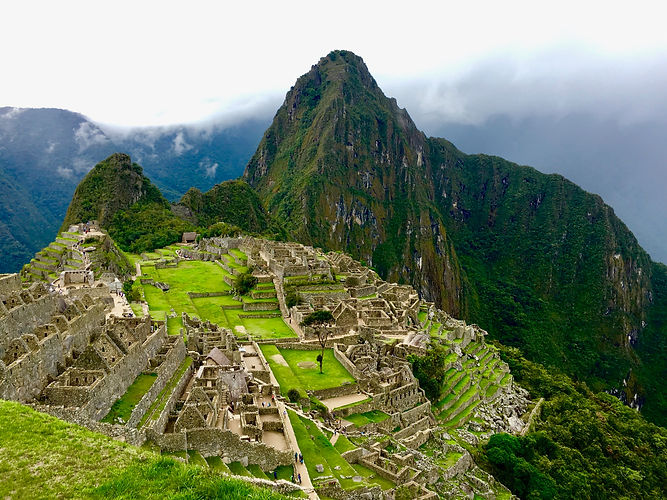 The ancient Incan citadel of Machu Picchu in the mountains of Peru