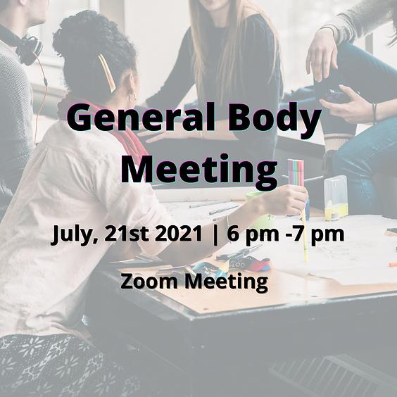 July 2021 General Body Meeting