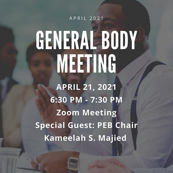 April 2021 General Body Meeting