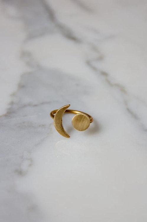 Brass Moon Ring