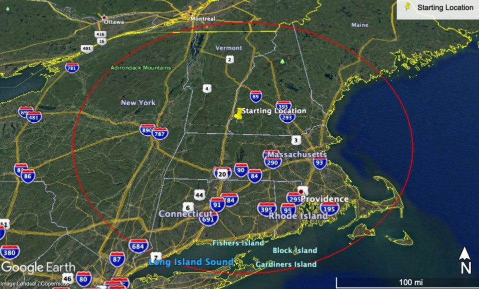 Google Earth image around Chesterfield, NH