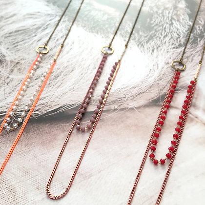Collier double laiton et perles - modèle Darius - corail/cristal