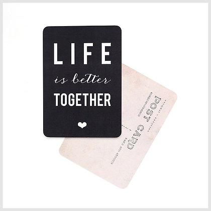 Carte postale life is better together ardoise