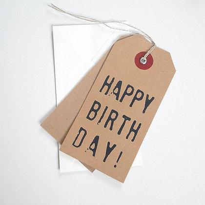 Etiquette cadeau kraft géante happy birthday