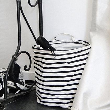 Panier de rangement rayé noir et blanc