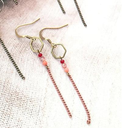 Boucles d'oreilles longues couleur rose - modèle Diana