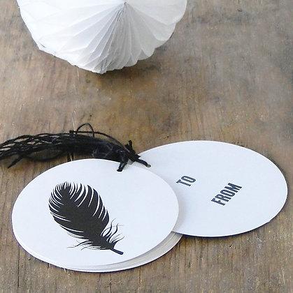 Etiquettes rondes impression plume avec lien noir