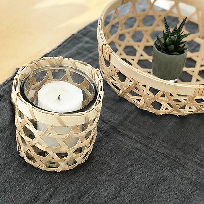Photophore vase cannage bambou