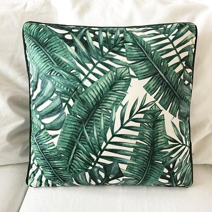 Coussin motif feuilles tropicales aperçu recto