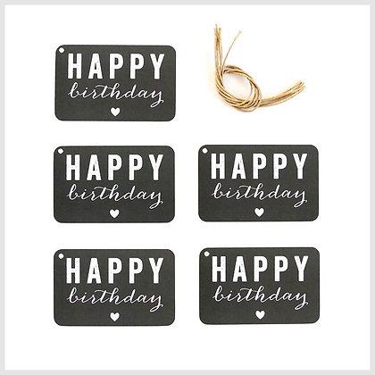 etiquettes cadeaux happy birthday noir