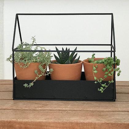 Porte-plante métal maisonnette avec pots terracotta