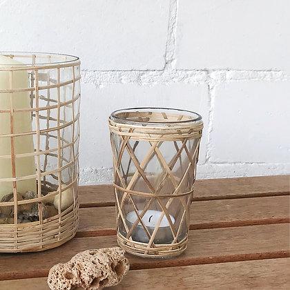 Photophore en verre cannage bambou