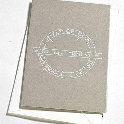 """Carte de félicitations avec message """"parce que tu le mérites un port c'est tout"""" clodette"""
