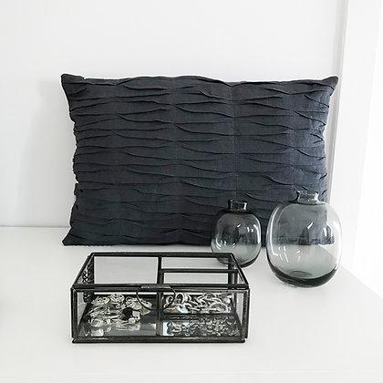 Coussin lin et coton couleur gris-bleu