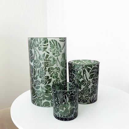 Vases photophores en verre motif monstera