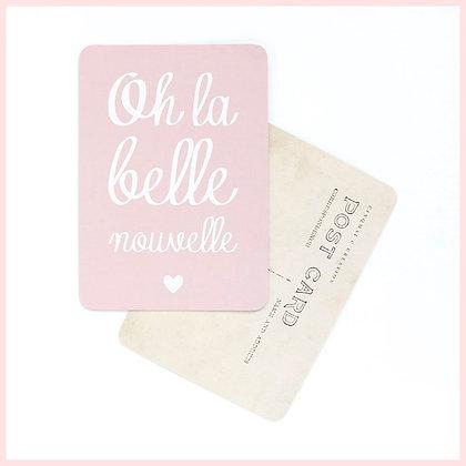carte postale rose oh la belle nouvelle