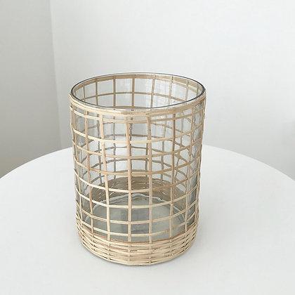 Vase photophore tressage bambou