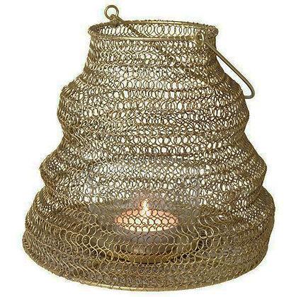 Lanterne en fil de fer or vieilli
