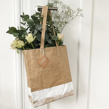 Sac shopping en papier kraft avec bouquet