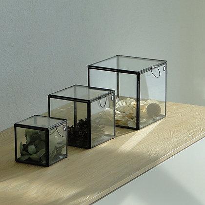 Boîtes vitrines métal noir set de 3
