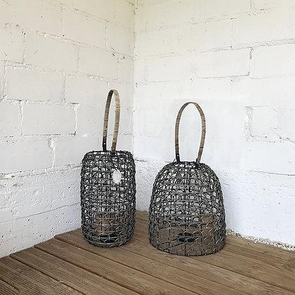 Lanternes en rotin gris ajouré - à poser - à suspendre - forme cloche - forme cloche