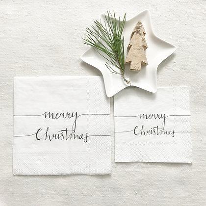 Serviettes en papier merry christmas - serviettes cocktail