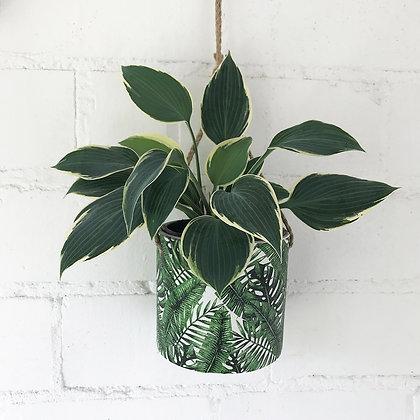 Cache pot à suspendre - motif feuilles de palmier
