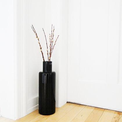 Vase forme tube en verre noir