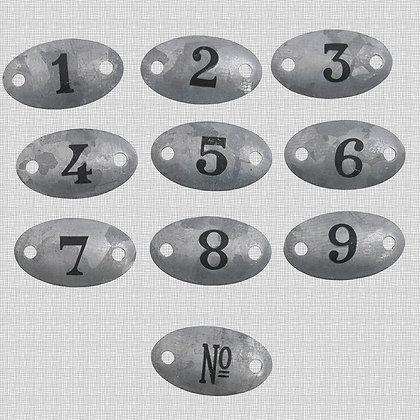 Plaques en métal patiné zinc numéros 1 à 9