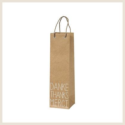 Sac cadeau pour bouteille de vin inscription Danke Merci Thank You