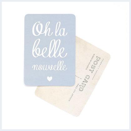 carte postale oh la belle nouvelle gris bleu