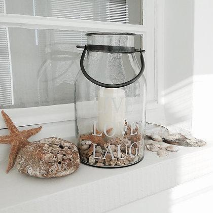 Lanterne en verre live love laugh avec bougie et coquillages