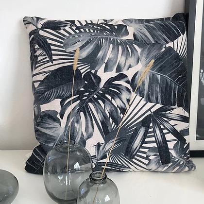 Coussin motif tropical jungle bleu