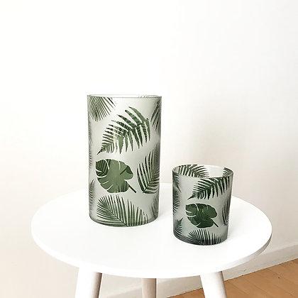 Vases photophores en verre motif fougère et monstera
